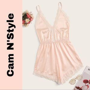 New Blush Pink Satin Silk-Like Lace Cami Romper